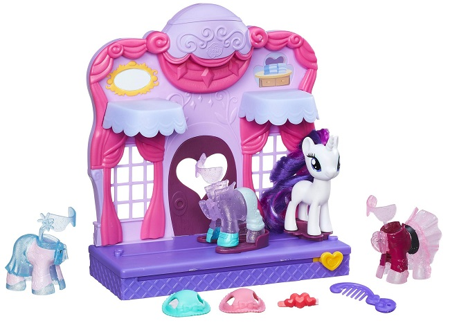 Unique The My Little Pony Rarity Fashion Runway playset features a special three inch Rarity pony figure that loves to create and wear fun